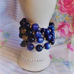 Vintage Blue Bead Wrap Bracelet